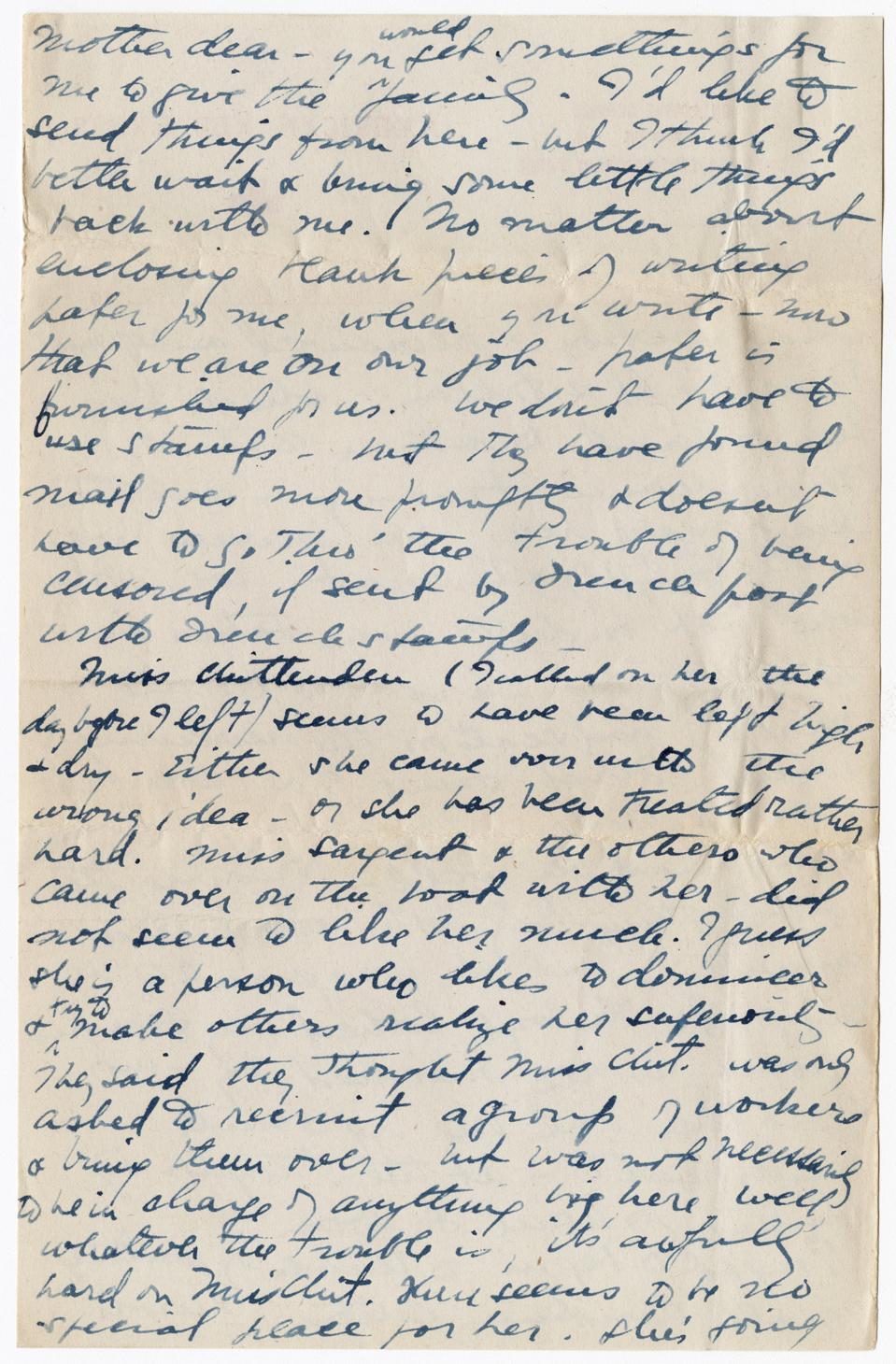 Alice Pratt Carter letter to parents,  November, 29,  1918, page 10.
