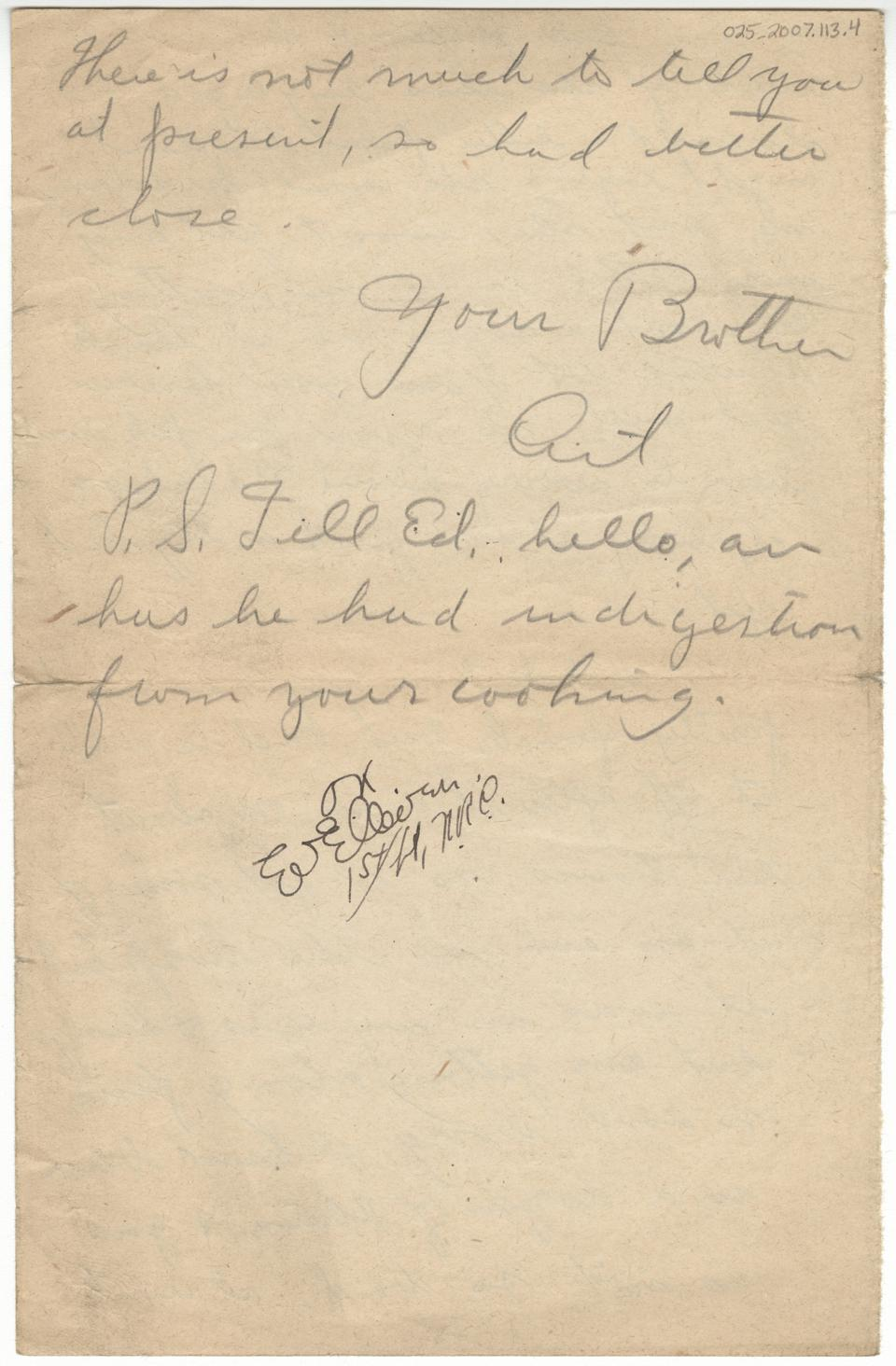 May 18, 1918 Arthur Quick to Laura, page 4.