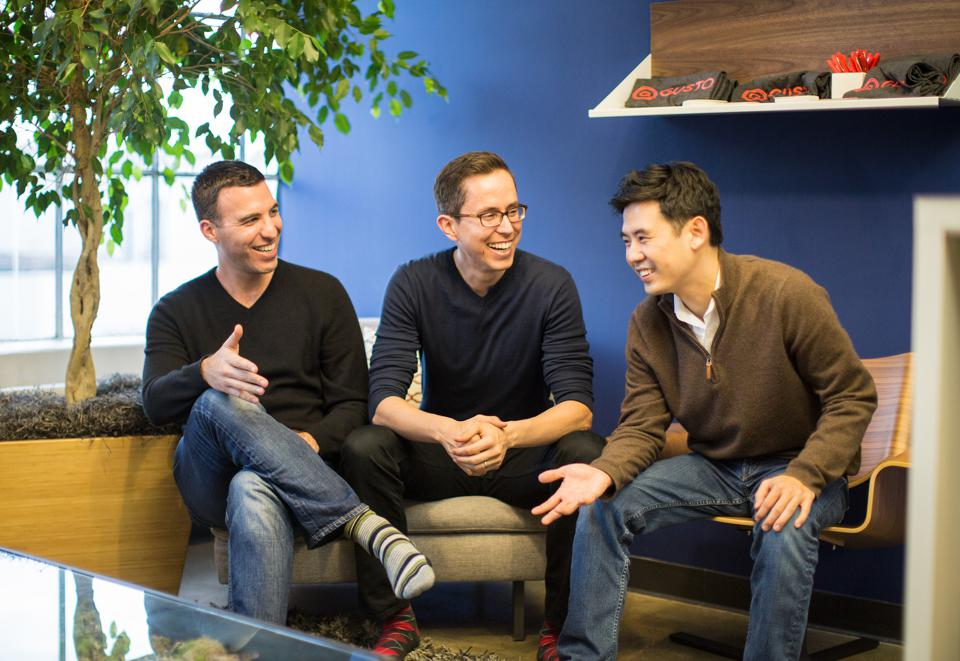 Gusto co-founders Tomer London (left), Josh Reeves (center), and Edward Kim (right)