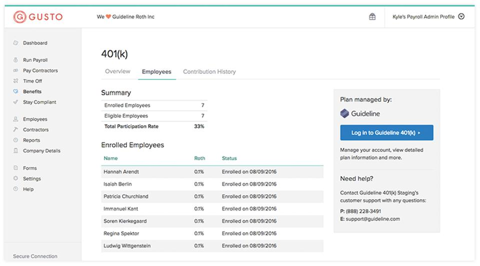 Gusto 401(k) feature in its HR platform