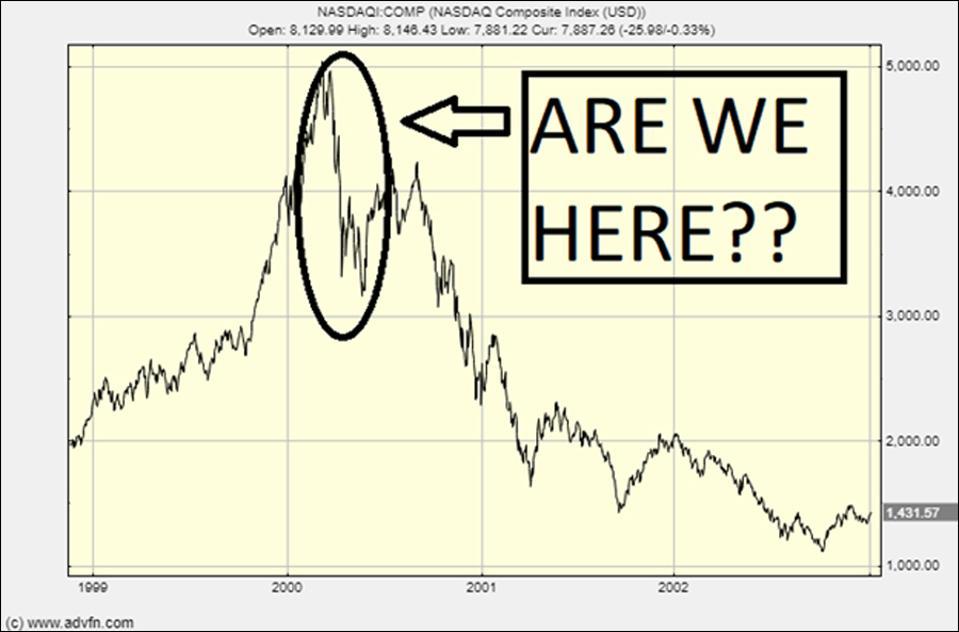 A much grimmer prediction: The Nasdaq during the dotcom crash