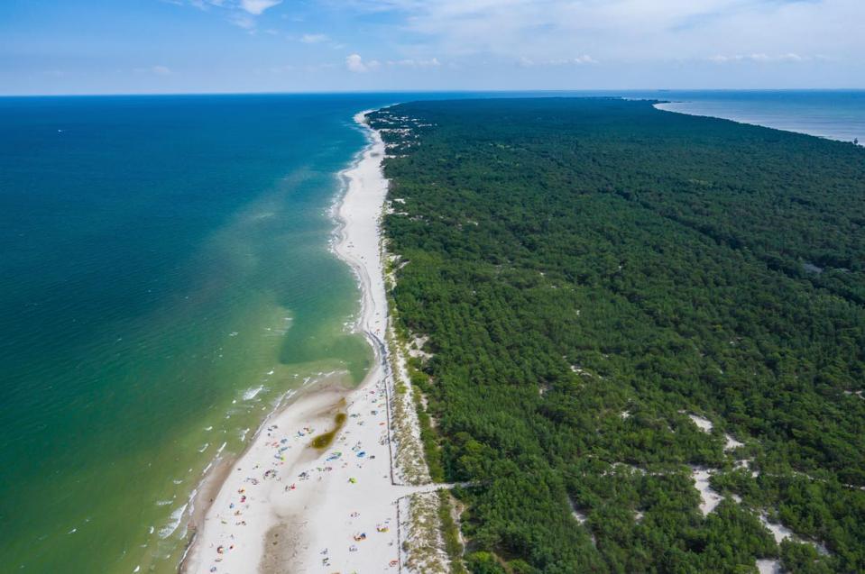 White beautiful beach post coronavirus, Poland
