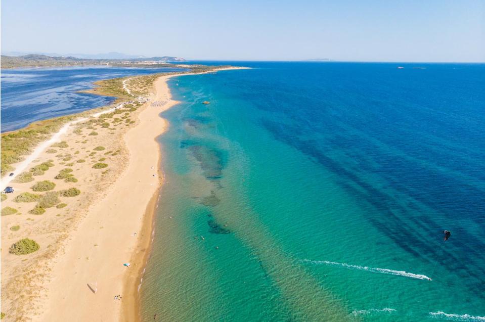 Beautiful long beach post coronavirus, Corfu, Greece