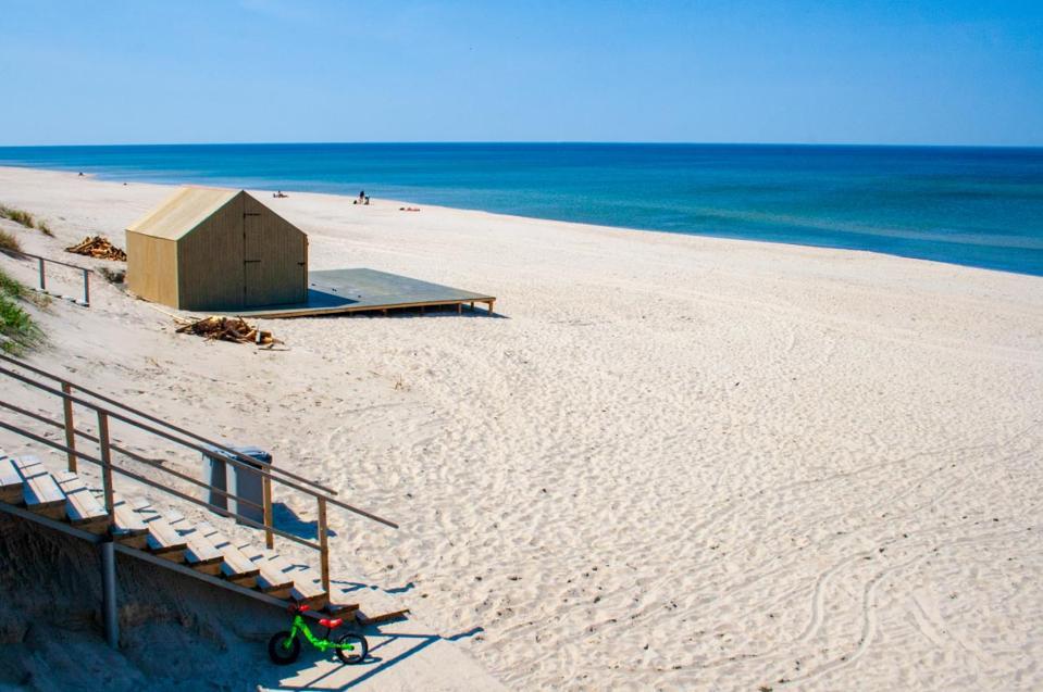Long white sandy beach post coronavirus in Lithuania