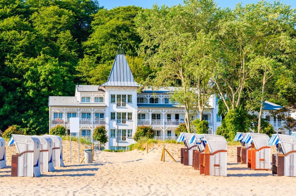 Sandy beach post coronavirus in Ruigen Island, Germany