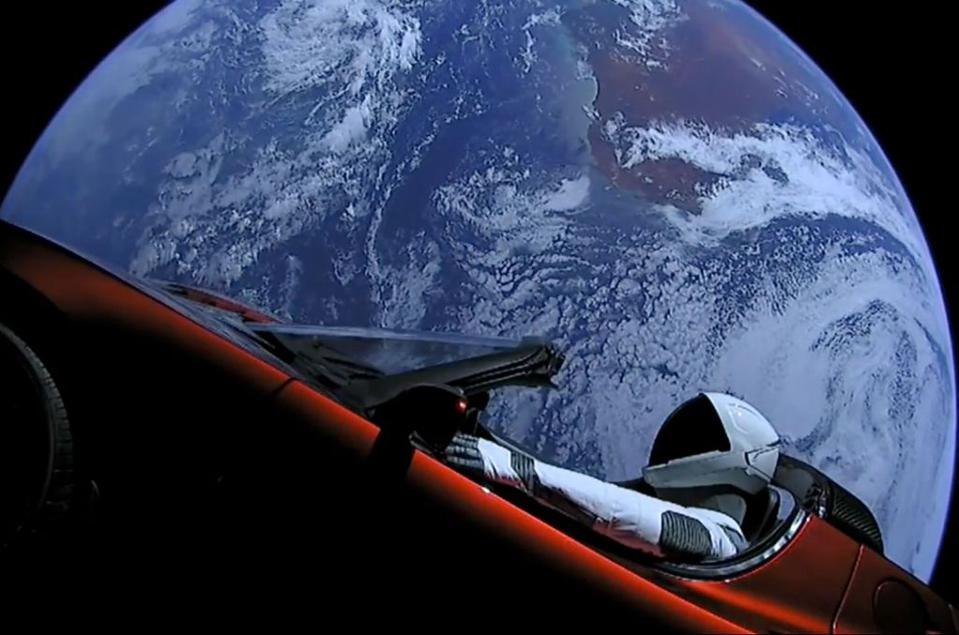 The dummy ″Starman″ riding a Tesla on his way to Mars orbit in 2018.