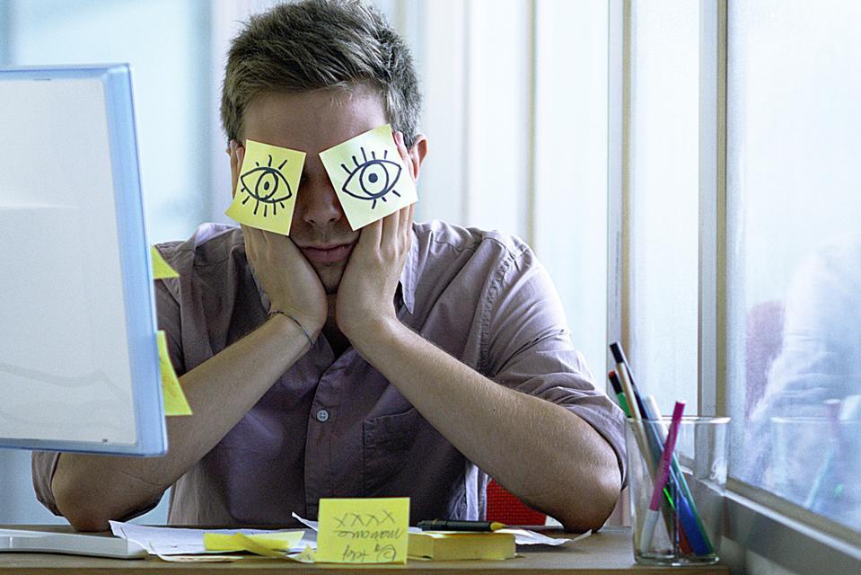 Office employee taking a break