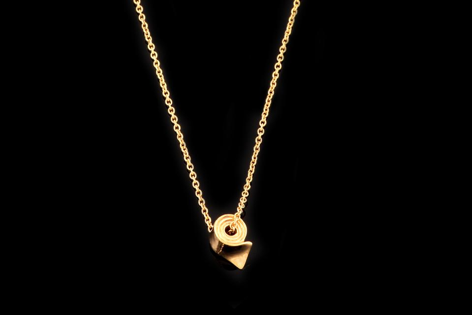 gold necklace with toilet roll pendant