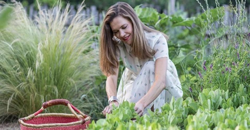 Erin Wade harvesting herbs in the garden