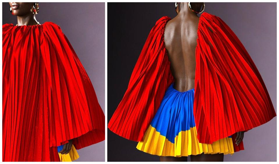 Red, blue, and yellow mini dress representing Congolese flag colors
