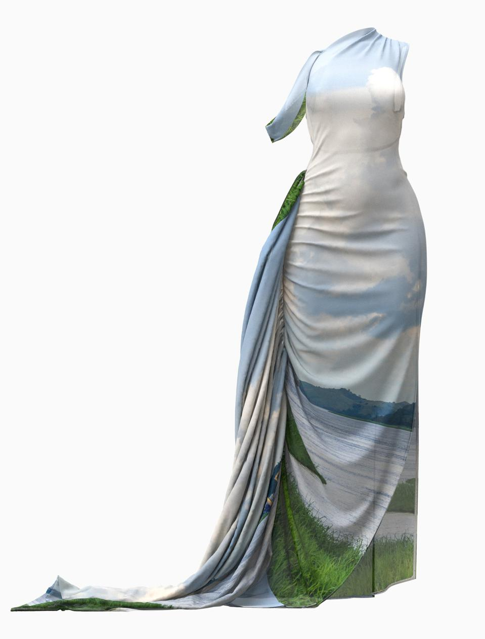 Maxi dress portraying where the Congolese river meets land