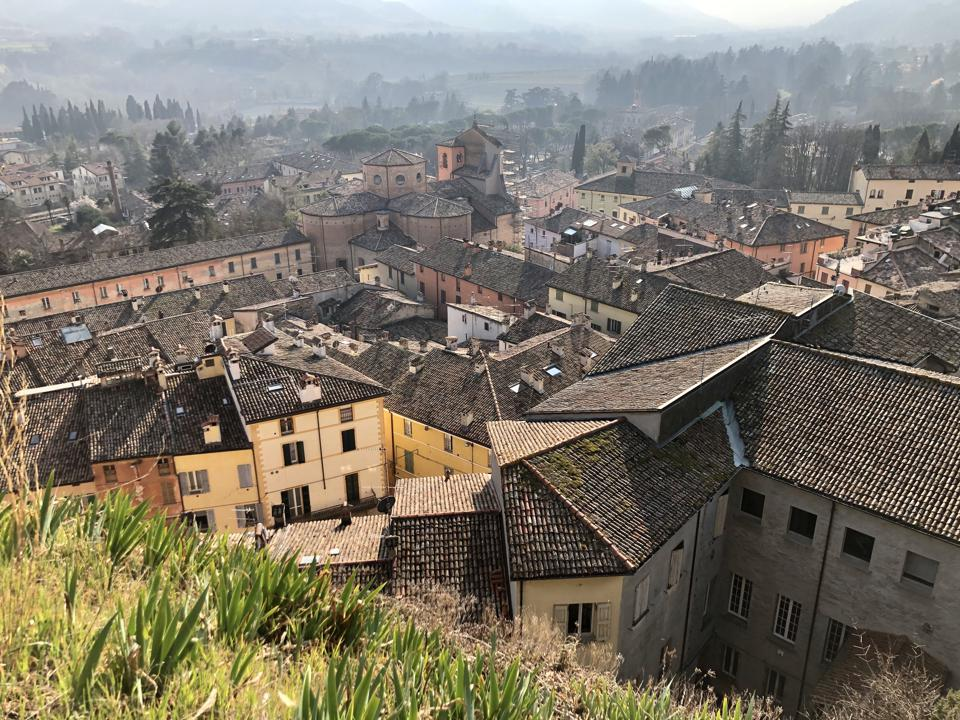 Rooftops and hills in Brisighella in Romagna, Italy