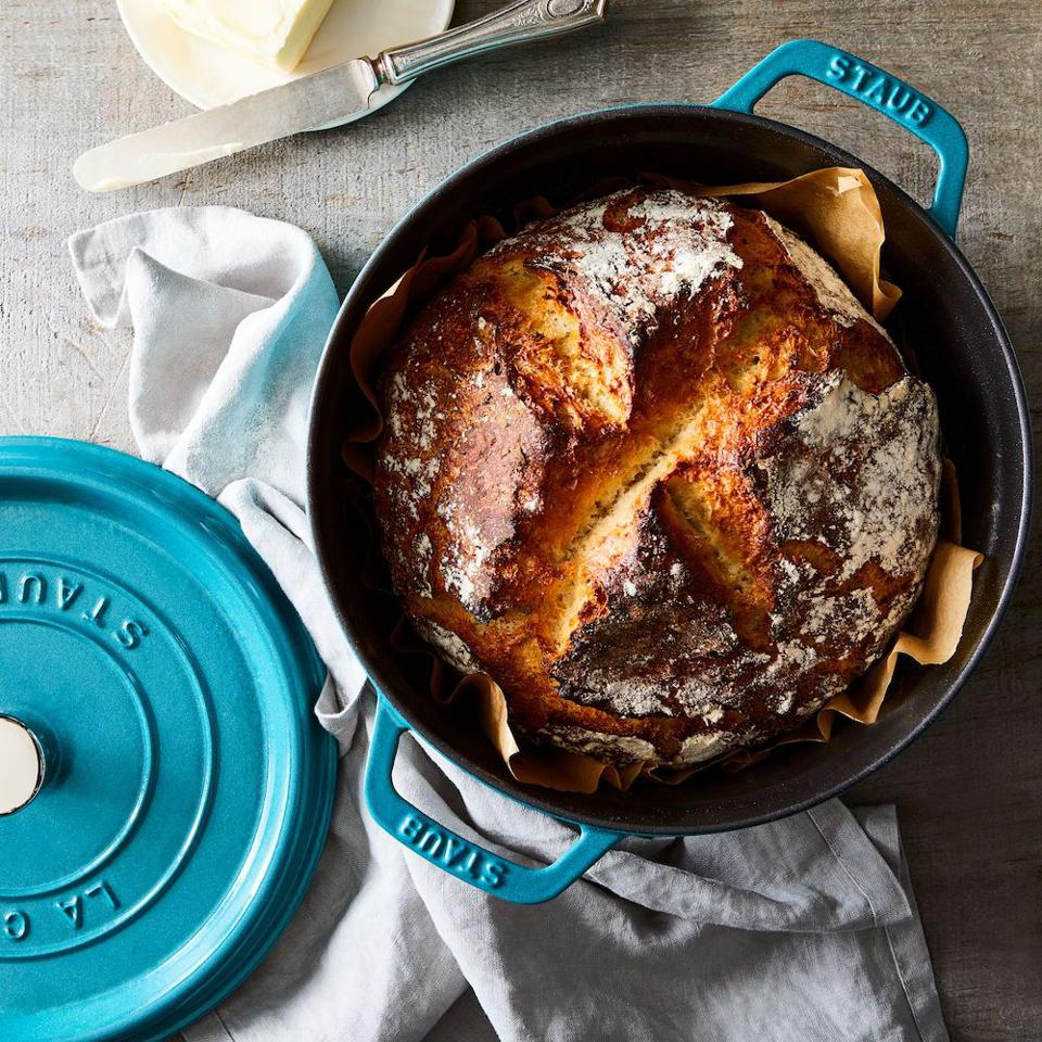 Food52 x Staub Round Cocotte with homemade bread inside.