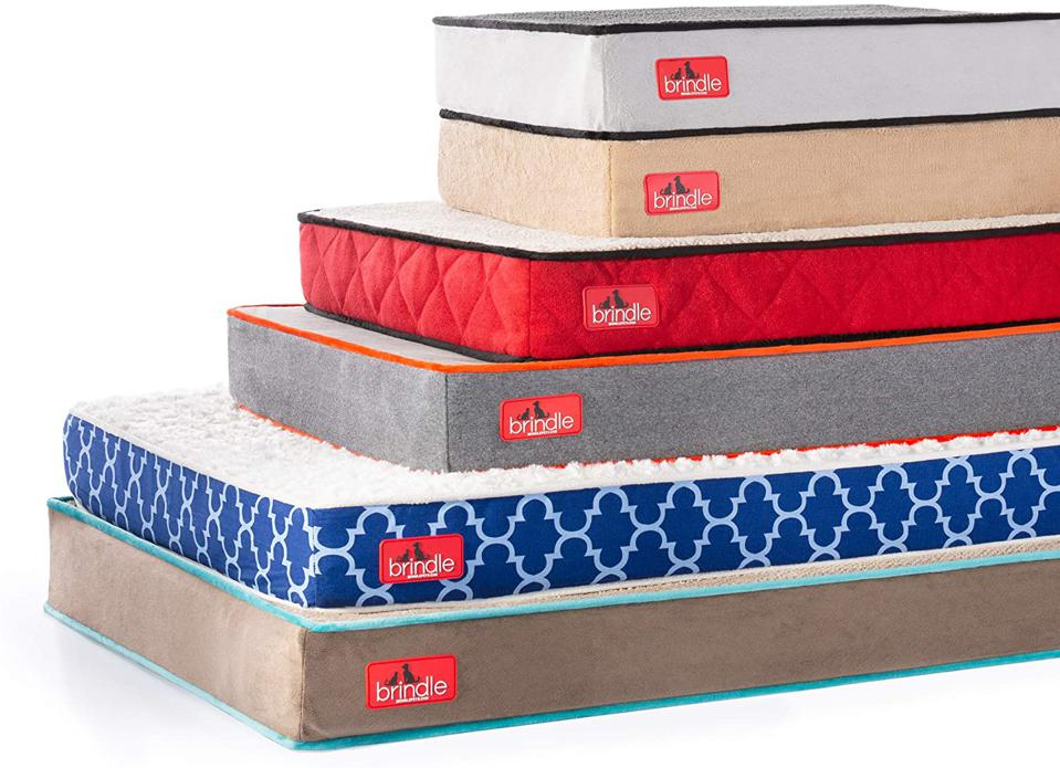 Brindle Waterproof Designer Memory Foam Pet Beds in different sizes and colors