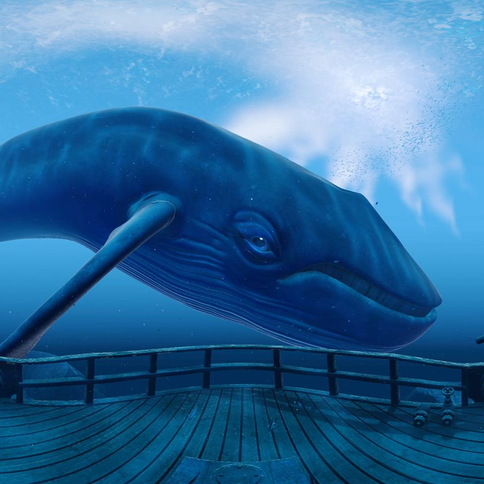 Virtual Reality pain management includes an encounter with a blue whale.