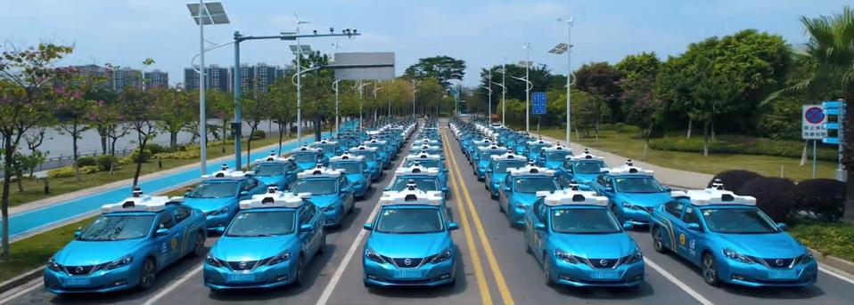 WeRide's self-driving car fleet lined up together.