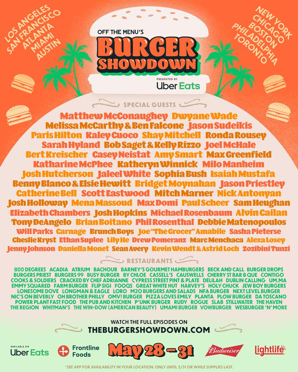 The Uber Eats lineup for the Burger Showdown.