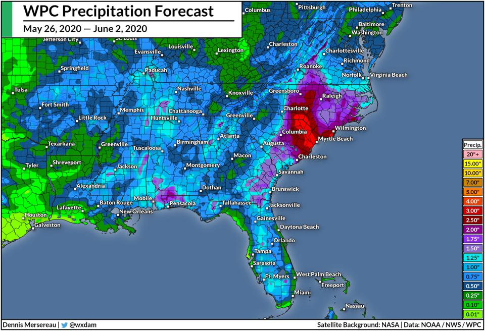The Weather Prediction Center's rainfall forecast through June 2, 2020.