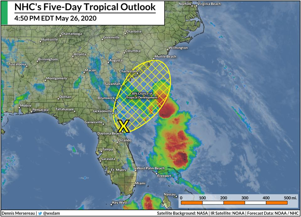 The National Hurricane Center's tropical weather outlook on the evening of May 26, 2020.