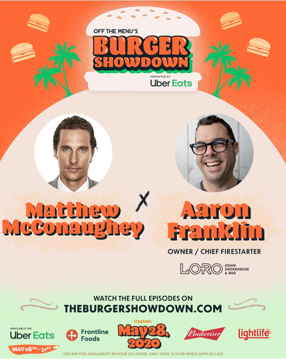 Matthew McConaughey and Aaron Franklin team up for Uber Eats' Burger Showdown.