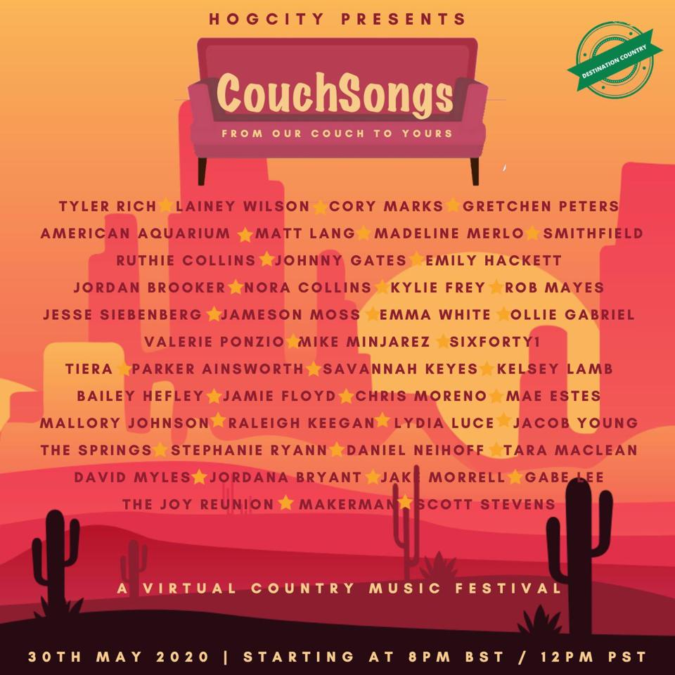 The complete lineup for the May 30 CouchSongs  virtual country music festival