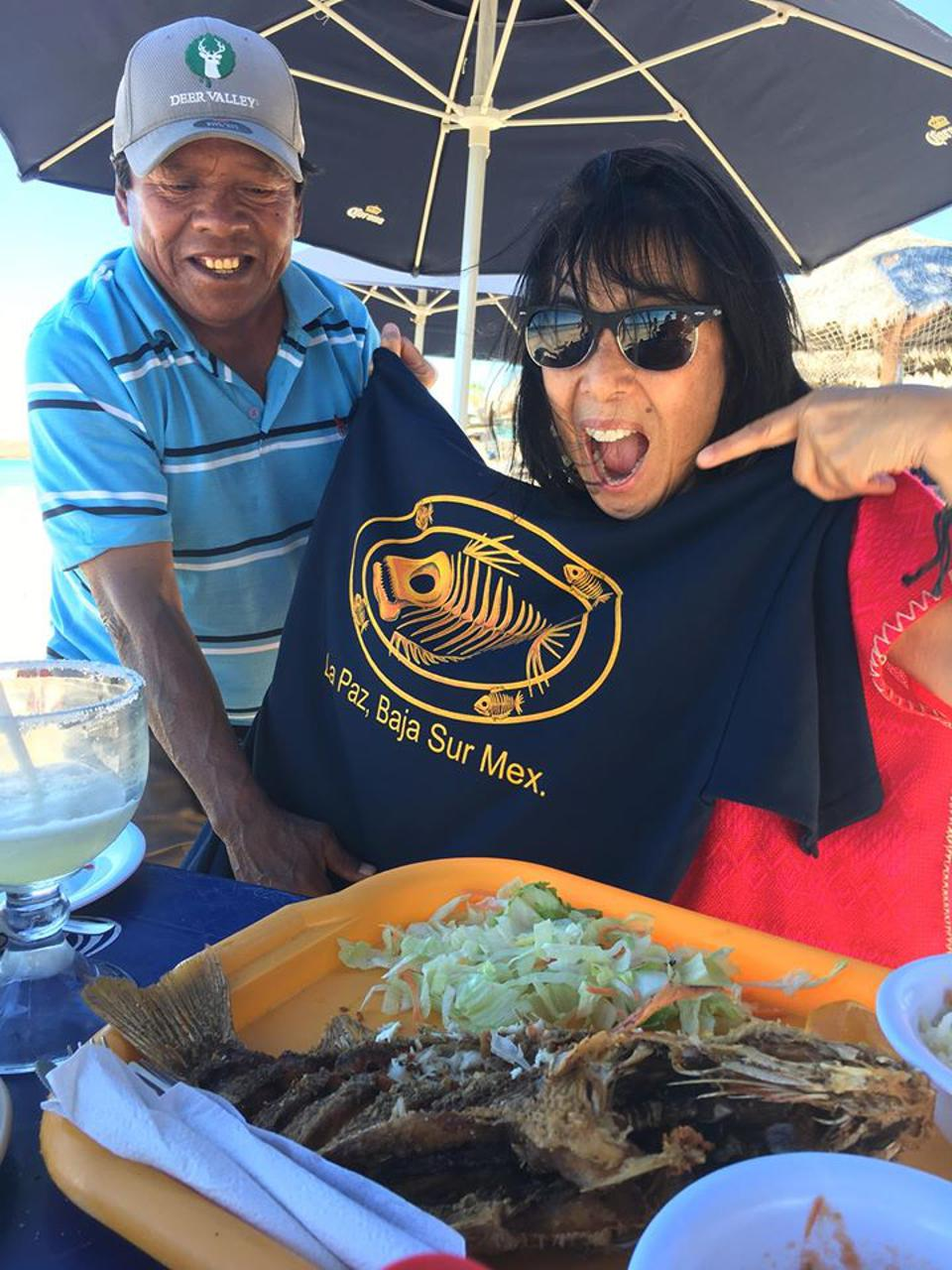 Jet Metier with street vendor at beach in Mexico
