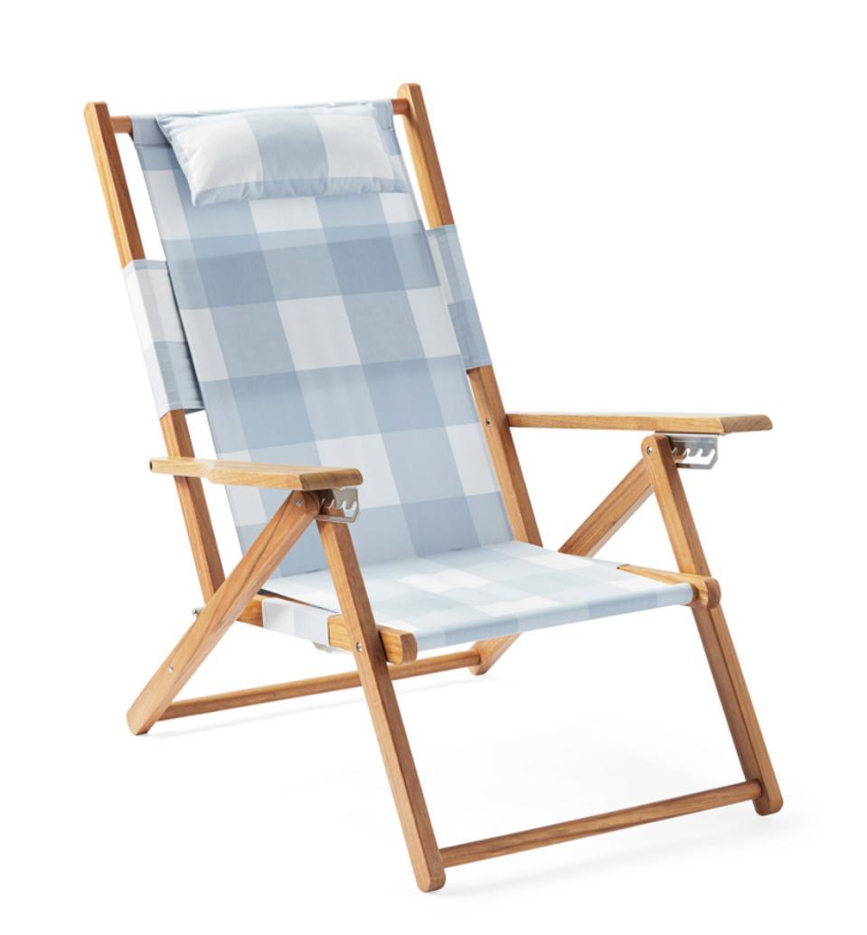 Serena & Lily gingham teak beach chair