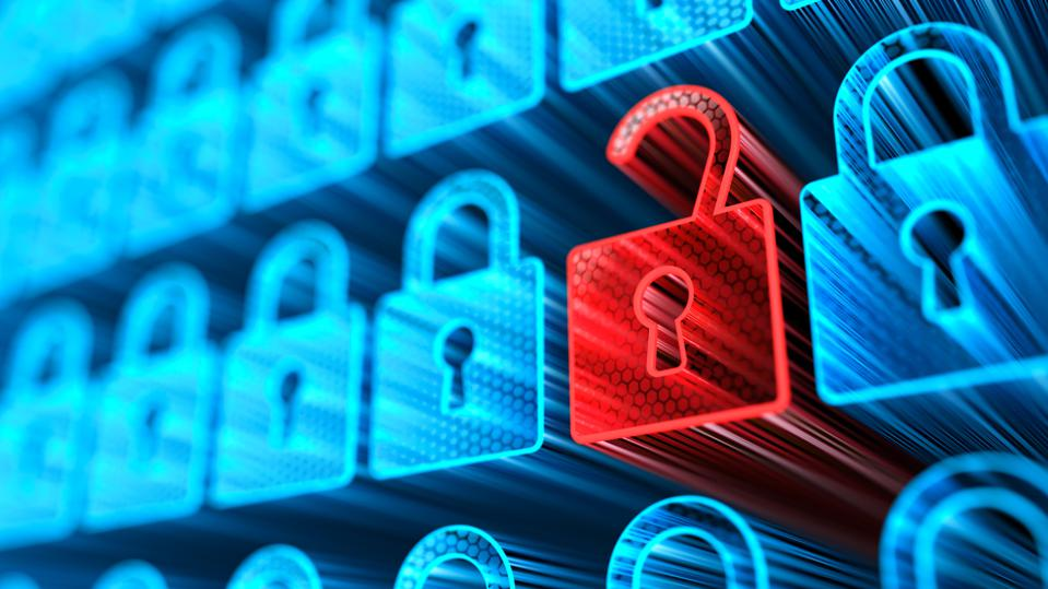 Encryption your data. Digital Lock. Hacker attack and data breach. Big data with encrypted computer code. Safe your data. Cyber internet security and privacy concept. Database storage 3d illustration