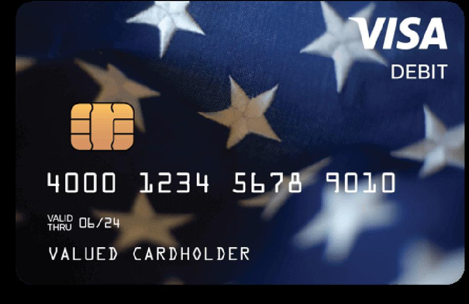 Front side of Economic Impact Payment Visa Debit cards