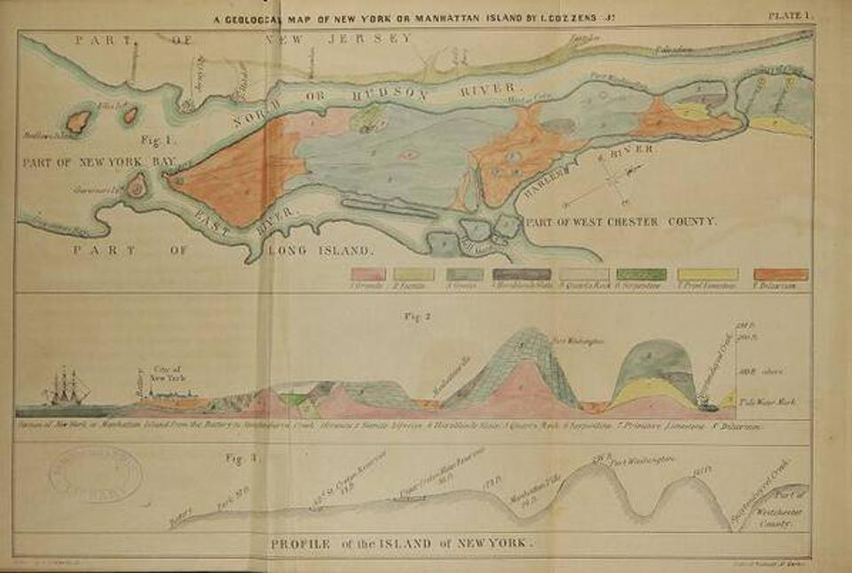 Geological map from Cozzens' Geological History of Manhattan or New York Island (1843), showing the outcrops of hard Manhattan Schist (in orange) in Downtown and Midtown.