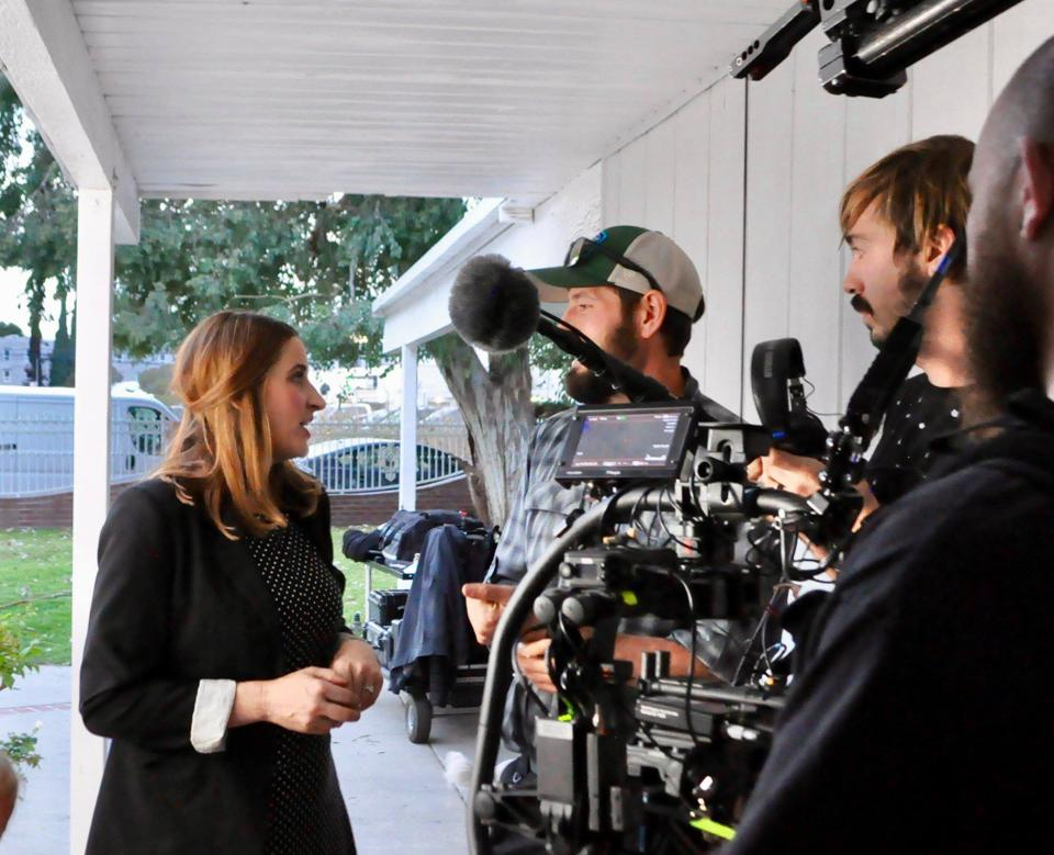 Kelli McNeil on set filming the trailer for Daruma.