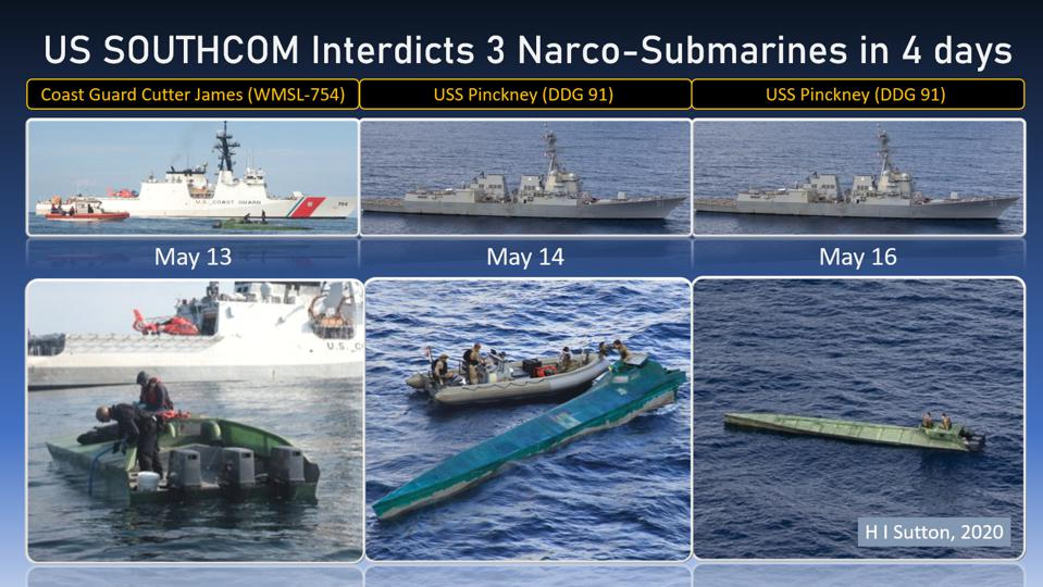 Narco subs interdicted by US Southern Command (SOUTHCOM) in May 2020