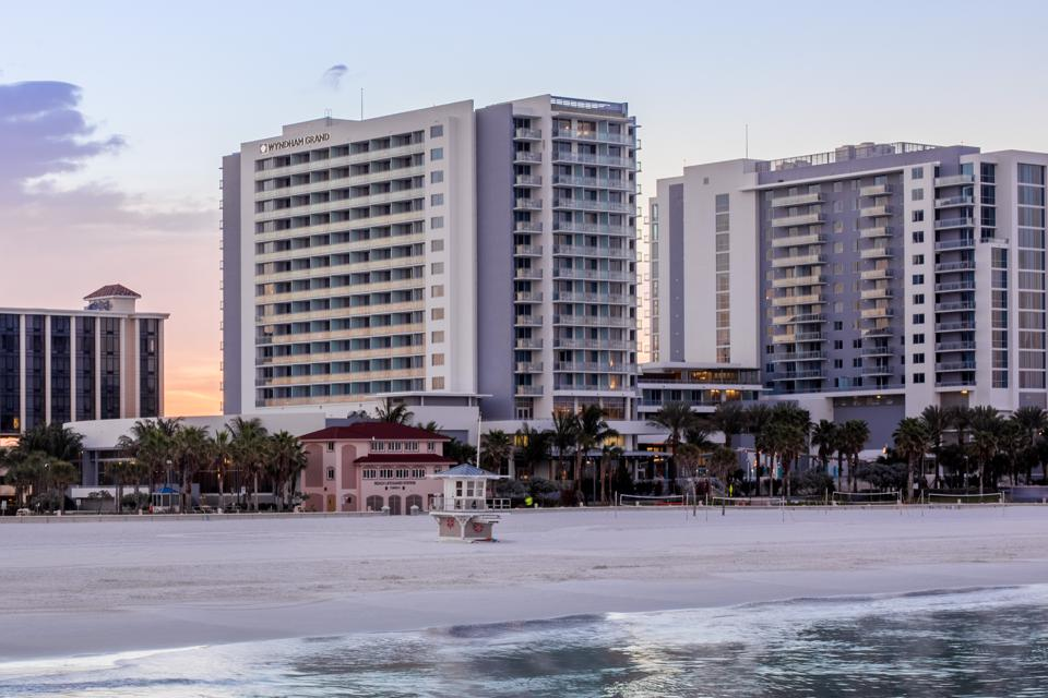 The ocean front exterior of Grand Clearwater Beach hotel.