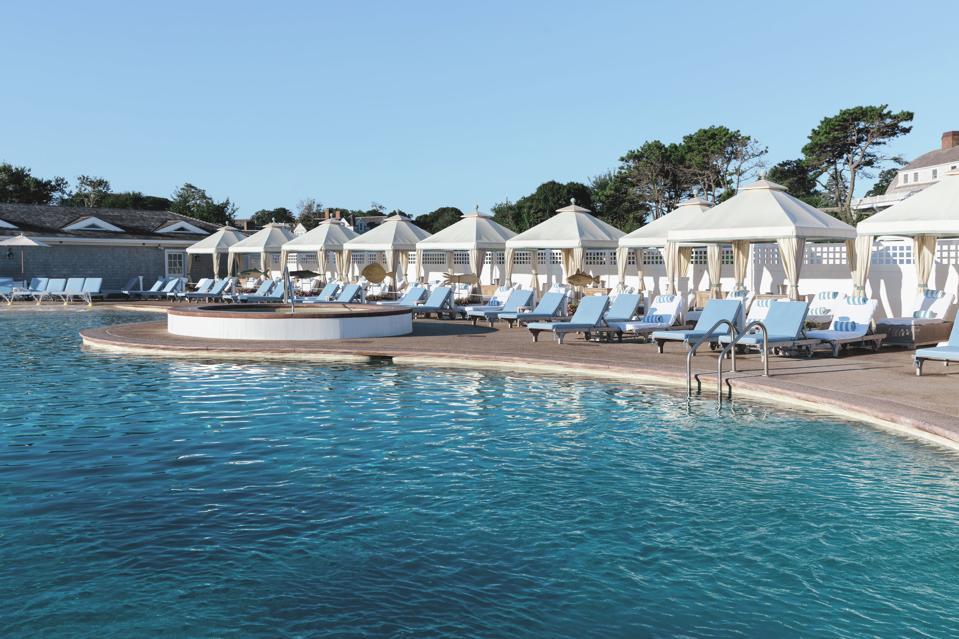 The pool with cabanas at Chatham Bars Inn.