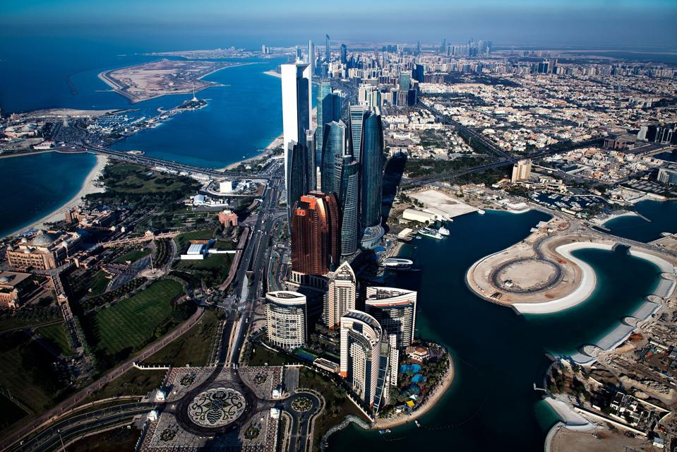 The Abu Dhabi skyline in the day.