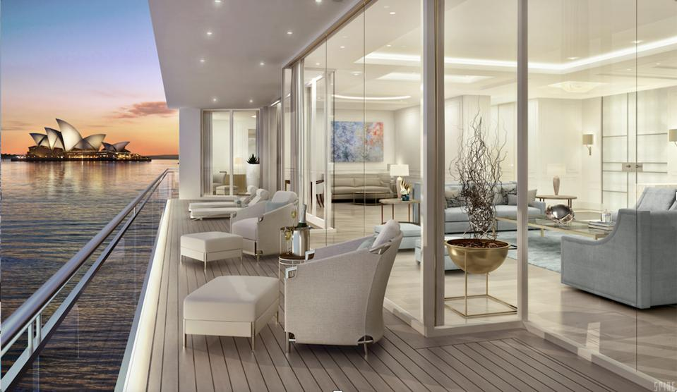 As you can see in this exclusive renderering of a residence onboard the 954-foot-long NJORD, this is not a typical ″cruise ship.″
