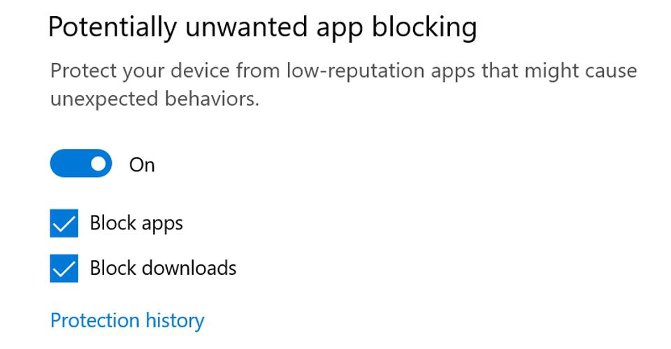 Windows 10's new PUA blocking feature