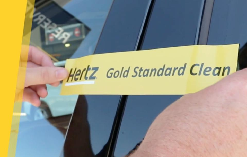 The Hertz ″Gold Standard Clean″ safety seal.