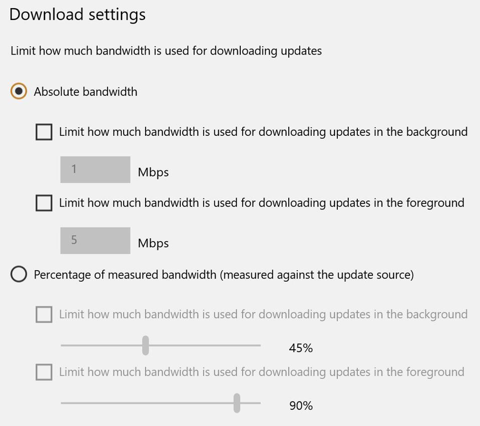 New Windows update controls to limit bandwidth
