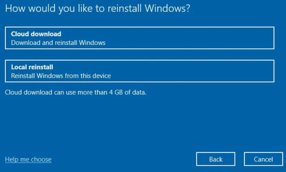 The new cloud reset option in the Windows 10 May 2020 update.
