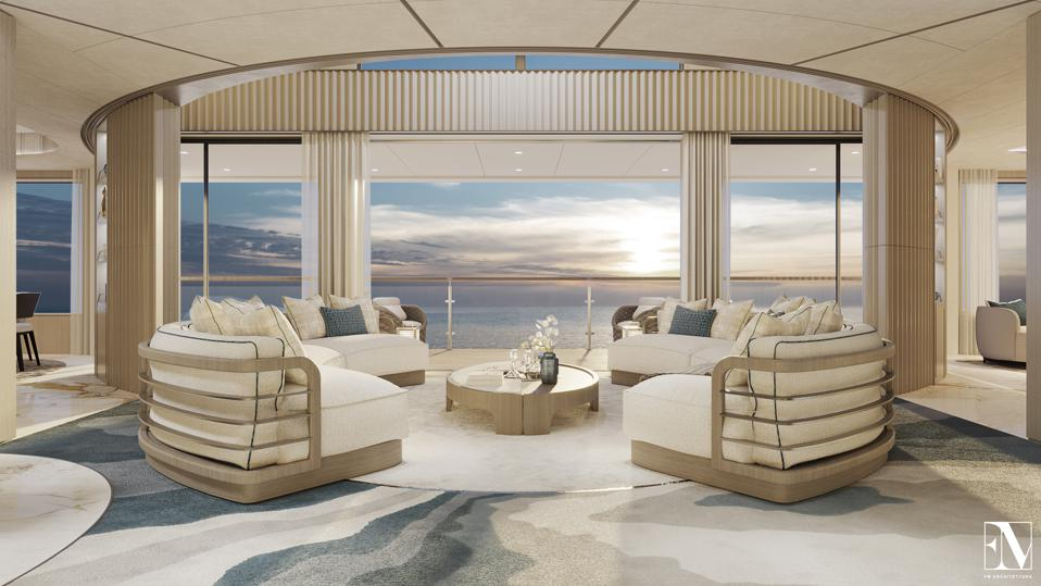 These exclusive renderings show just how luxurious a residence aboard the 954-foot-long yacht NJORD can be.