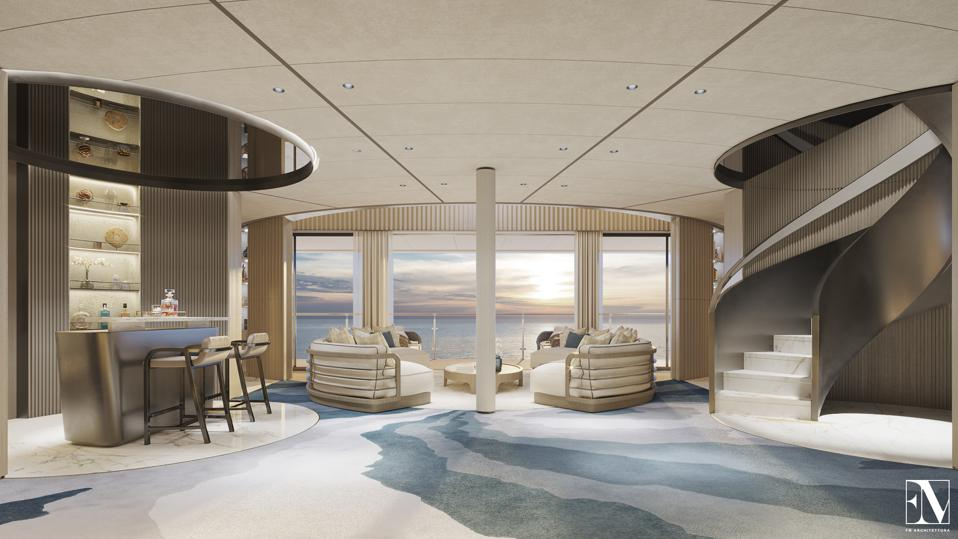 Note the curving staircase in thses exclusive renderings of a duplex aboard the 954-foot-long private residence yacht yacht Njord.