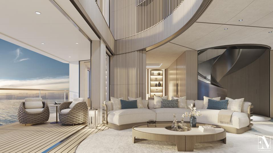 Here is an exclusive first look at the interior of the 954-foot long private residence yacht NJORD.