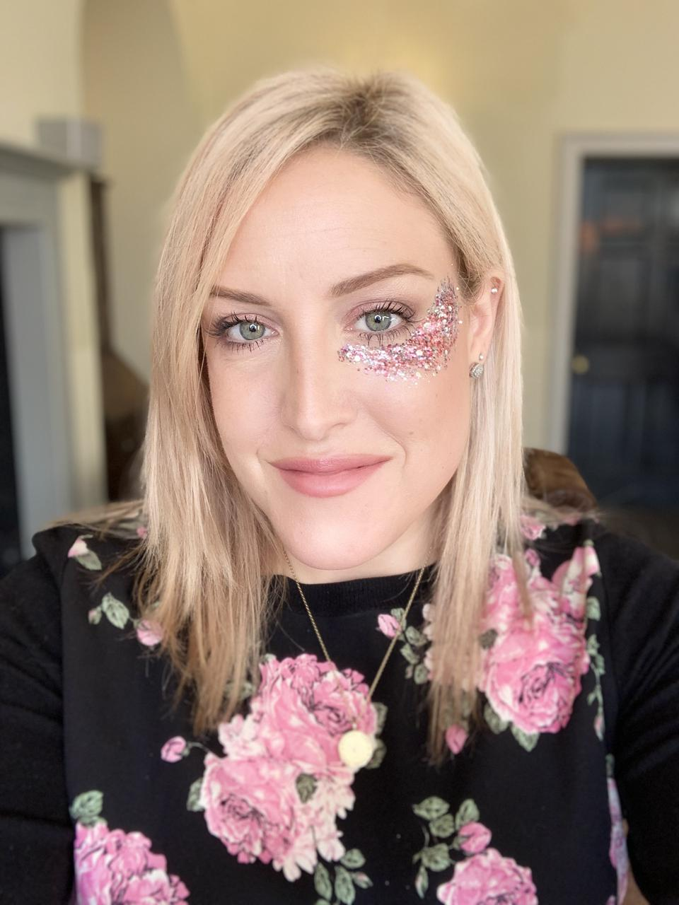 Picture of Toni Cassidy with her own brand glitter on her face