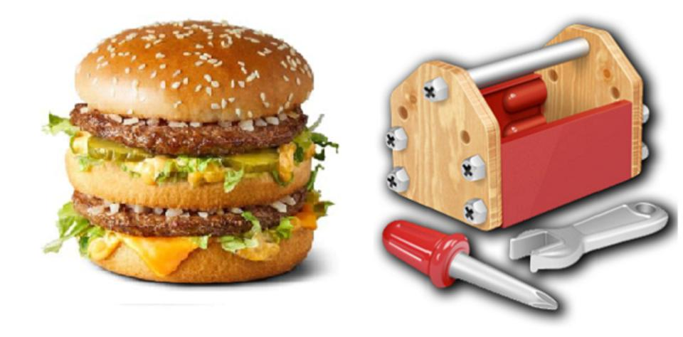 An image of a Big Mac next to a toolbox.