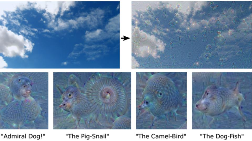 Google research showed how neural network can over-interpret an image. More at the research blog: https://ai.googleblog.com/2015/06/inceptionism-going-deeper-into-neural.html
