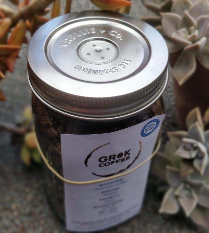 Grok coffee from Honolulu is packaged in mason jars with stainless-steel lids that have a silicon valve to release the gases and to retain freshness.