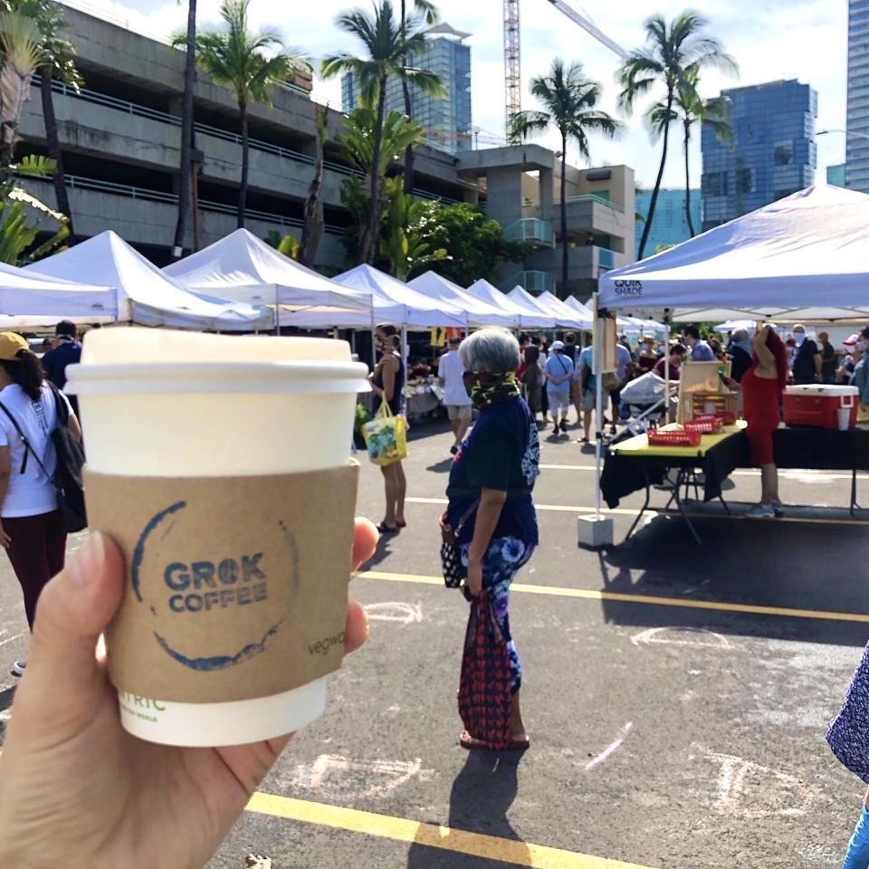 Grok Coffee at the Kakaʻako Farmers Market on Oahu.
