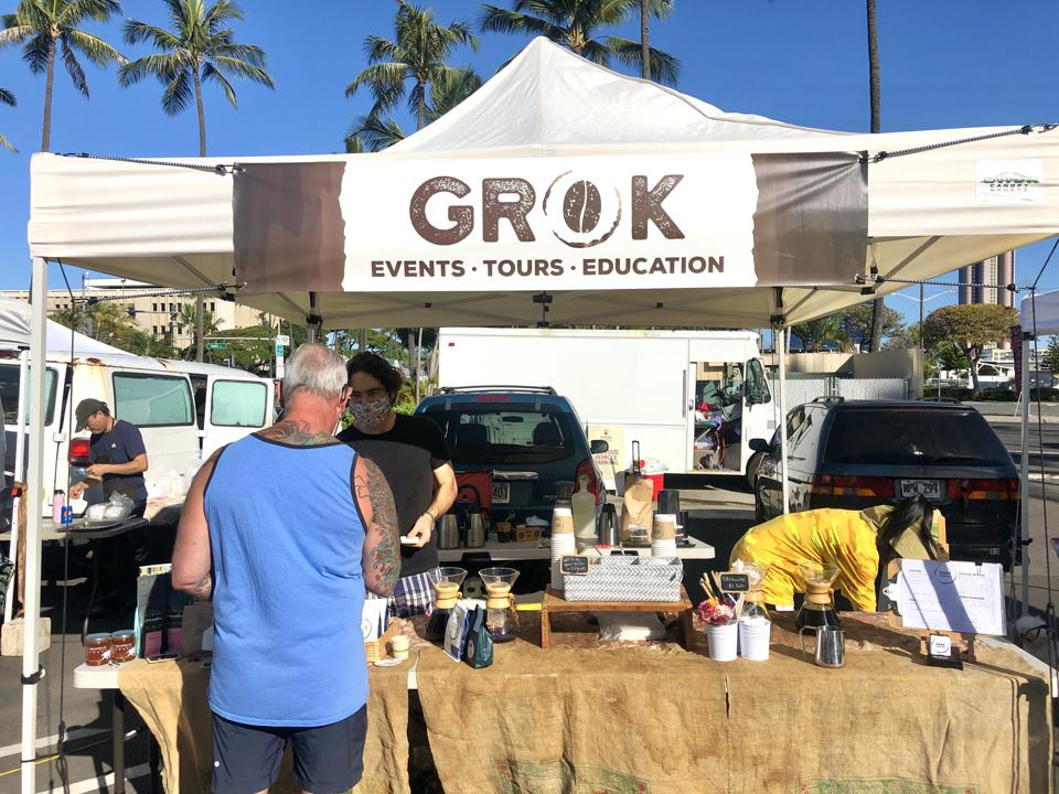 Grok Coffee can be delivered to your home or picked up at the Kakaʻako Farmers Market in Honolulu