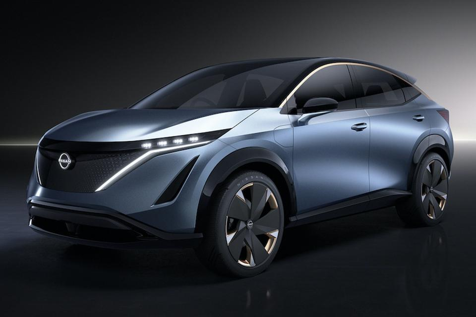 A photo of the fully electric Ariya SUV concept which is destined for a summer 2020 launch.